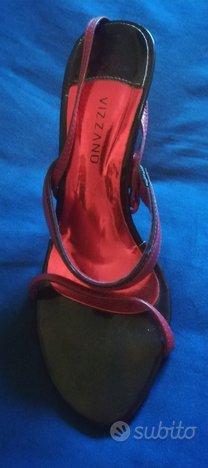 Sandalo rosso in pelle, marca Vizzano, numero 39