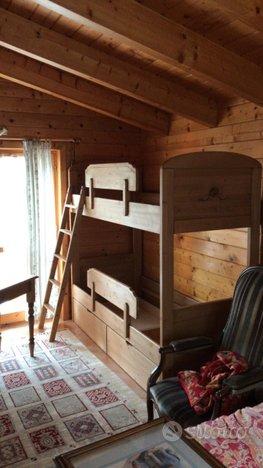 Letto a castello rustico in legno di abete - Arredamento e ...