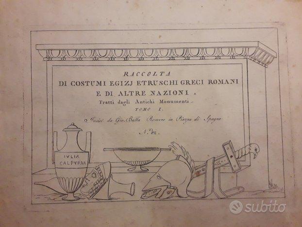 Libro 1805 - Costumi antichi Egizi, Etruschi, ecc