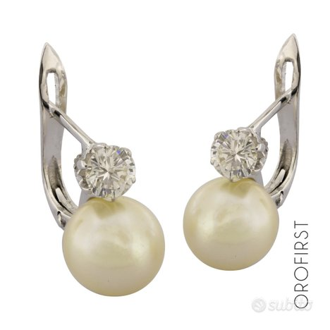Orecchini perle e diamanti 0,60ct
