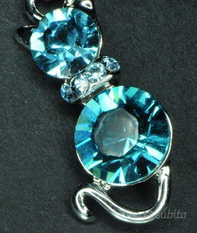 Ciondolo gatto argento 925 zirconi blu e catenina