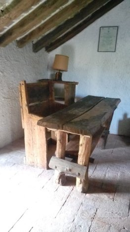 Tavolo scrivania legno massello rovere grezzo - Arredamento e ...