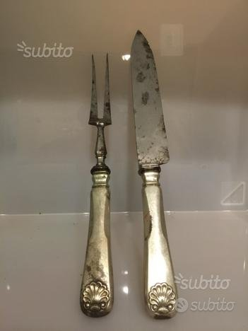 Coppia forchettone coltello con manico in argento