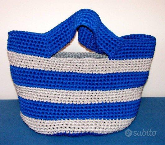 Borsa mare shopping grigio perla blu