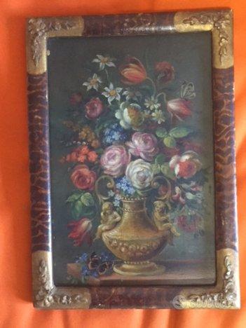 Vaso di fiori, olio su tavoletta