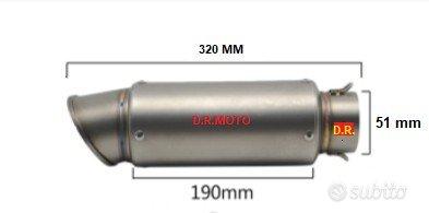 0701. scarico titanio ingresso 51 lunghezza 320 mm