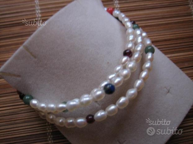 Bracciale Perle Fiume e Pietre Dure-3 Giri