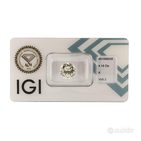 Diamante certificato IGI 4,19 ct