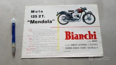 Bianchi 125 Mendola 1955 depliant moto originale