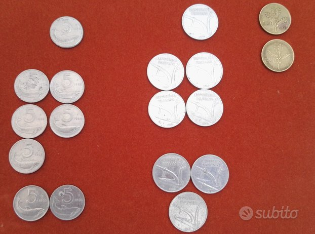 Monete lira 5l 10l 20l 1952 1953 1954 1955