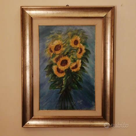 Quadro dipinto olio su tela girasoli