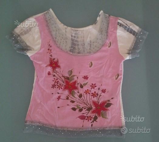 T shirt maglia Motivi taglia S rosa bianca tulle