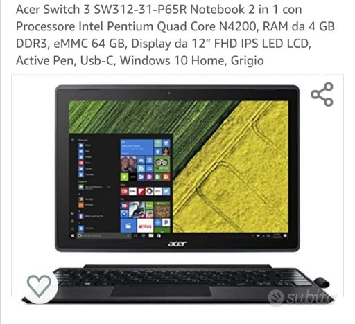 Notebook acer switch 3