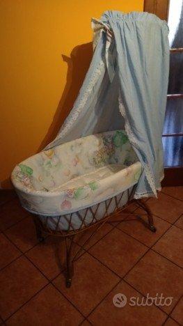 Culla vimini con materasso e imbottitura con tendi