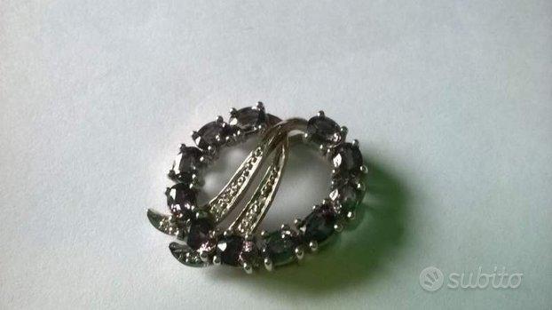 Ciondoli argento con zaffiro/rubino
