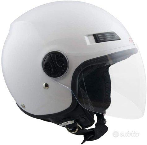 Casco jet moto scooter visiera lunga trasparent