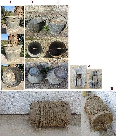 Secchio antico in zinco per pozzo o giardino rural