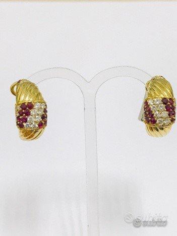 Orecchini oro 18 kt diamanti e rubini naturali (C)