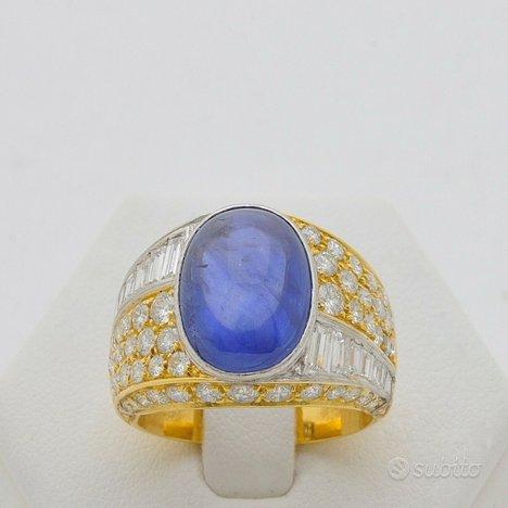 Anello ocean oro 18kt zaffiro 8ct diamanti 2.02 ct