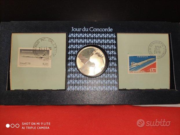 Medaglia e francobolli Jour du Concorde 1976