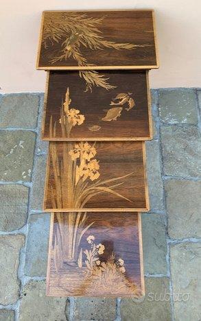 Set di 4 tavoli intarsiati originali Emile Galle
