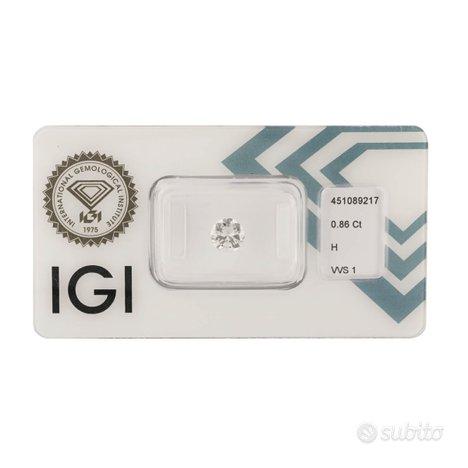 Diamante certificato IGI 0,86 ct
