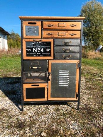 Mobile stile Industriale 9 cassetti 2 ante