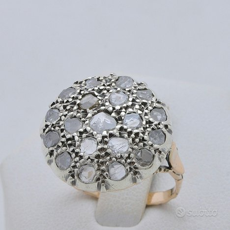 Anello vintage oro rosa 9kt e argento con diamanti