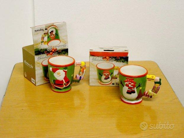 Tazze in ceramica disegno natalizio, modernariato