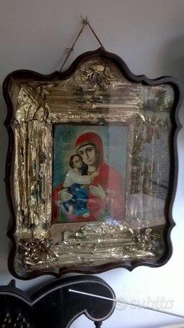 Antica Icona con bacheca arte sacra Ortodossa