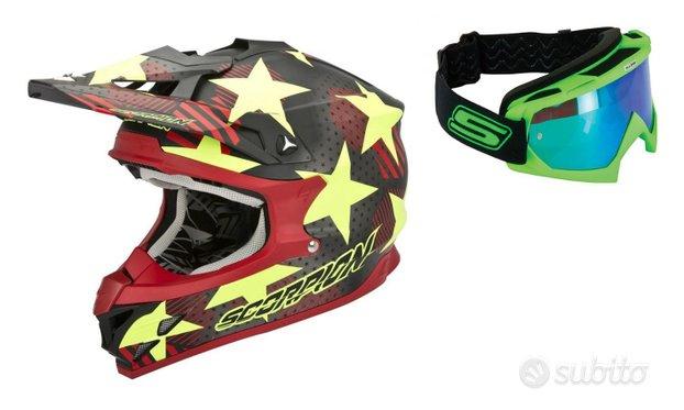 Casco moto cross fuoristrada maschera specchio