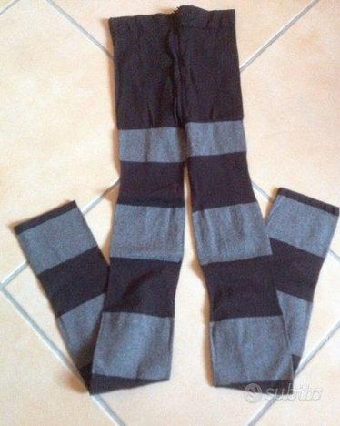 Leggings collant moda a righe tinte marrone