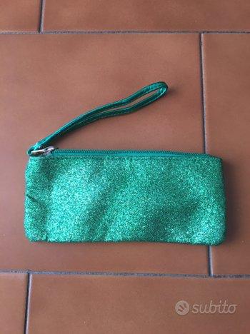 Mini borsa pochette da polso verde smeraldo