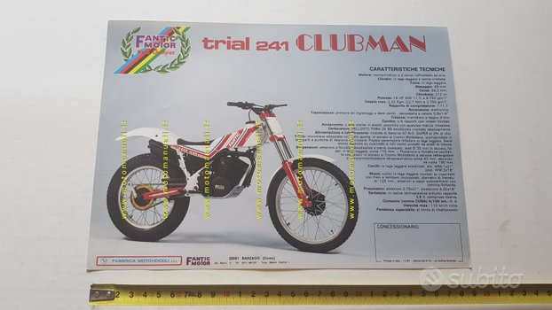 Fantic Motor Trial 241 Clubman 1987 depliant epoca