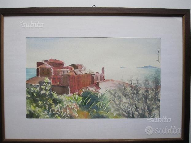 Acquerello su carta - Paesaggio Cinque Terre,CALVI & BRAMBILLA