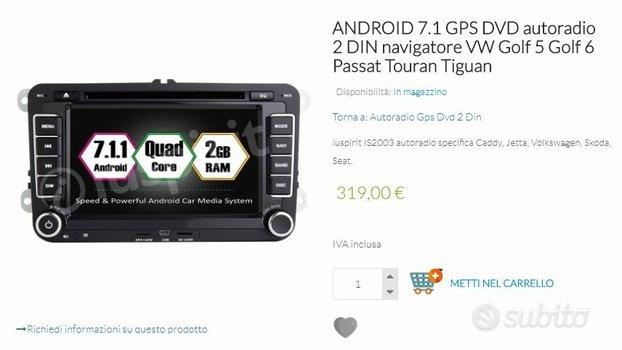 Autoradio android 7.1 golf 5/6 passat tourantiguan