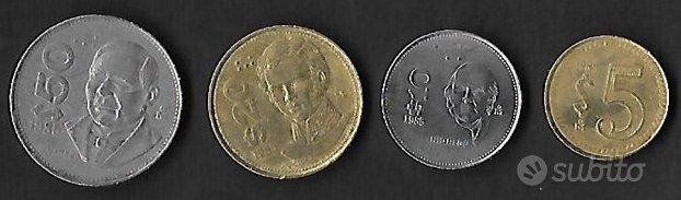 4 monete MESSICO anni e valori diversi