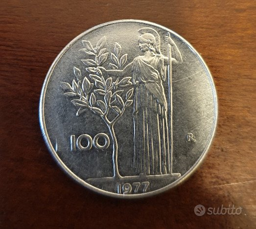 100 Lire Minerva 1° tipo 1977 - Rep. Italiana