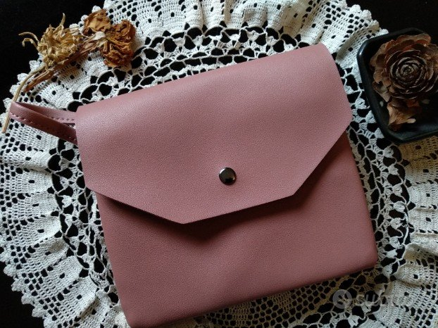 Borsetta pochette ecopelle tracolla rosa antico nu