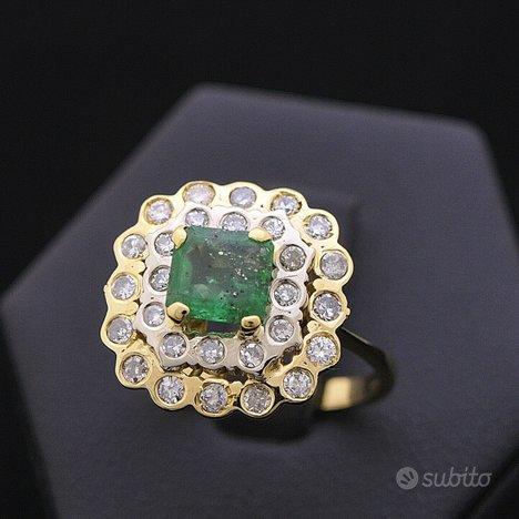 Anello bouquet oro 18kt smeraldo 0.70 ct diamanti
