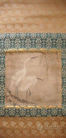 Dipinto giapponese su seta con aironi