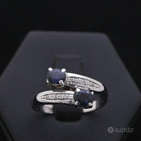 Anello contrarié oro 18kt diamanti 0.03 ct zaffiri