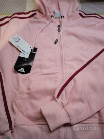 Felpa Adidas originale rosa con cappuccio NUOVA