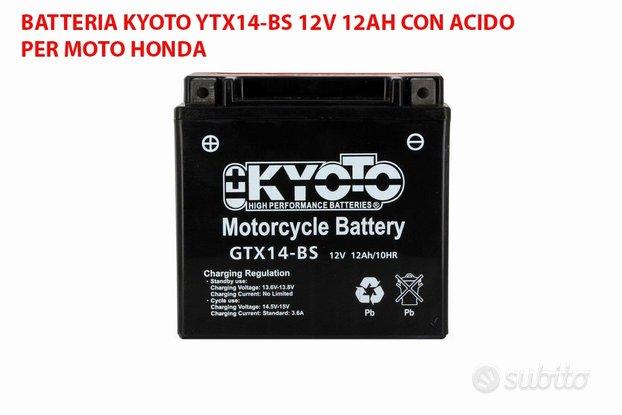 Batteria kyoto ytx14-bs 12v 12ah acido moto honda