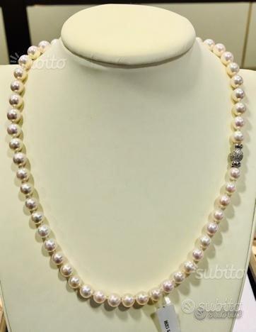 Collana perle Giappone oro 18 kt diamanti(I)