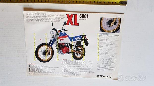 Honda XL 600 L 1985 depliant INGLESE moto original