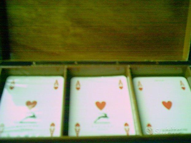 Portacarte Fiam Milano con 3 mazzi carte anni 80,FIAM
