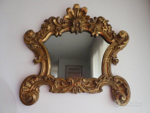Antica specchiera con cornice di legno epoca '800