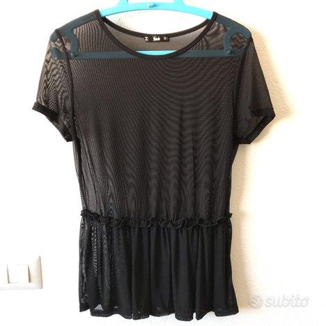 T-shirt blusa nera trasparente nuova tg. S