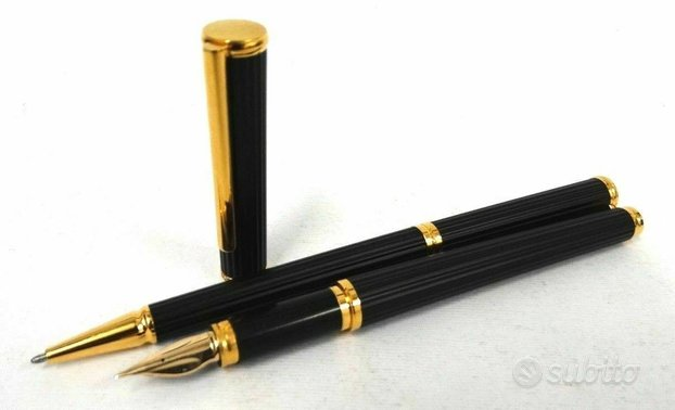 Coppia penna stilografica biro AURORA KONA Titanio